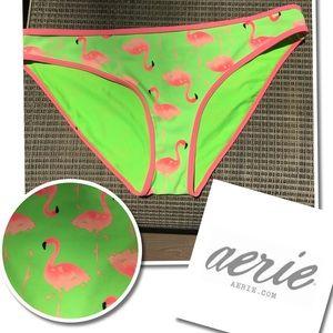 Aerie neon Green FLAMINGO Swimsuit Bikini Bottom L